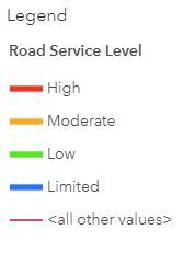 Road Service Level Map Legend