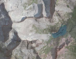 Overhead map rendering of Hagerman Peak and Snowmass Lake