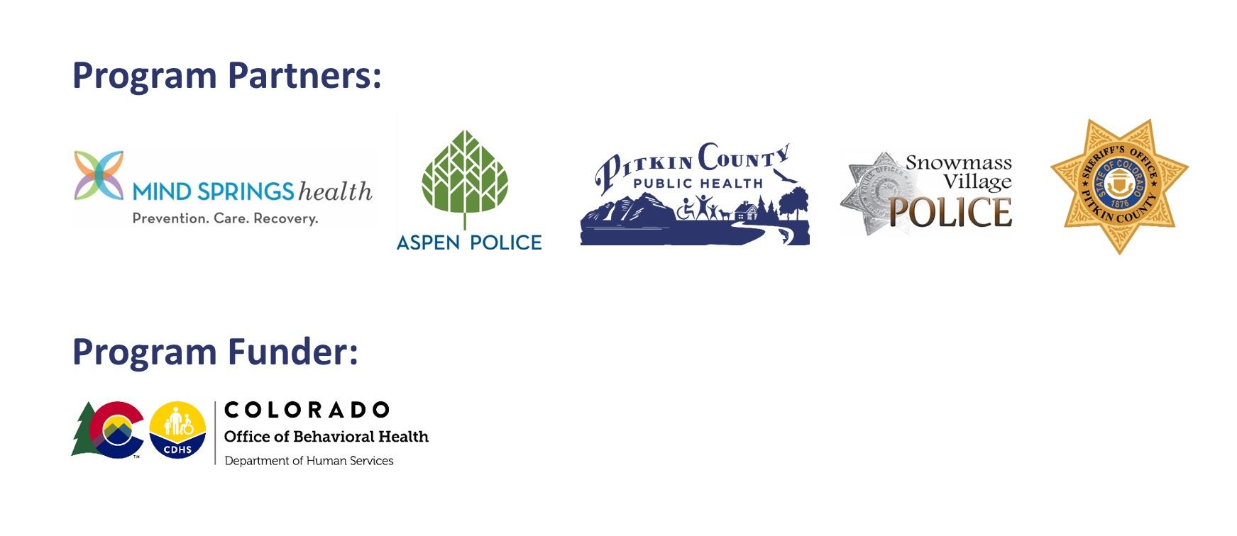 Program Partner Logos: Mind Springs Health, Apsen Police Department, Pitkin County Public Health, Sn